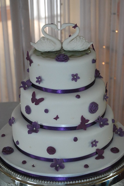 Wedding Cake with Swan Toppers
