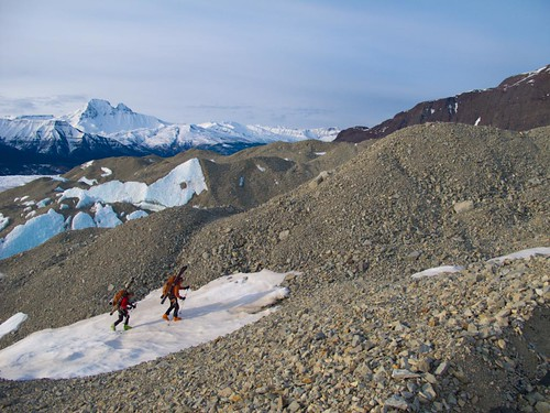 Thu, 2010-05-06 06:59 - Dylan Taylor and Danny Uhlmann hiking Nizina Glacier moraines on a 100-mile ski/hike from Skolai Pass to McCarthy, Wrangell Mountains, Alaska.