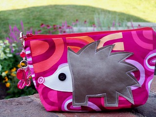 Pink Fabric Zippy Pouch with Hedgehog Applique Handmade | by marymoondesigns
