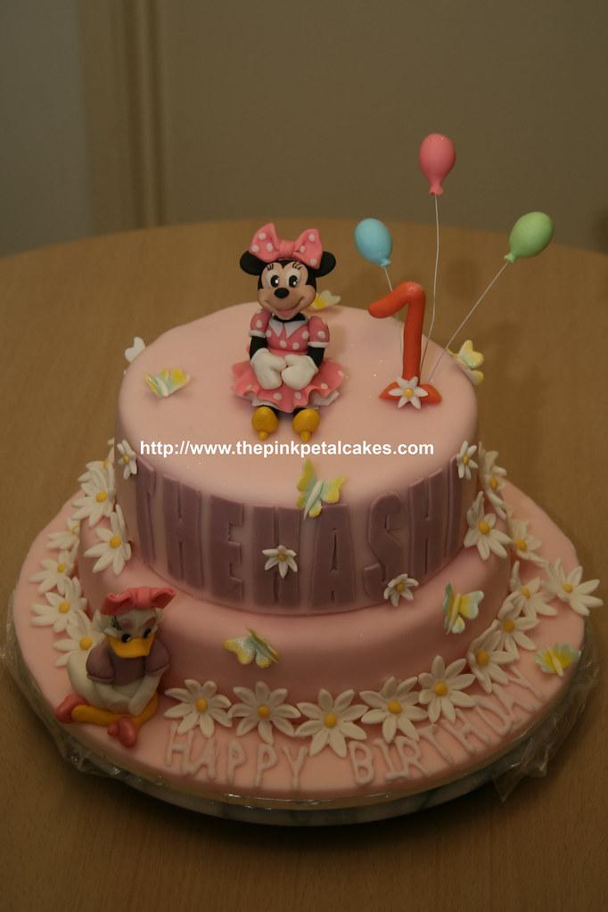 Peachy Minnie And Daisy Cake My Nieces First Birthday Cake Minni Flickr Personalised Birthday Cards Vishlily Jamesorg