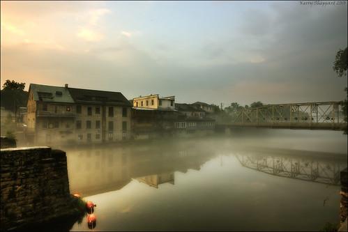 sunset mist ontario canada misty fog canon river foggy sigma kerry sheppard 1020 elora refelction xsi conestoga sheke1 hpcwater