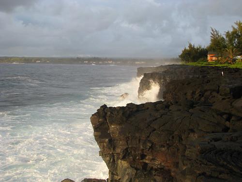 cliff usa rock point island hawaii lava big waves unitedstatesofamerica cliffs shore crashing pahoehoe kahunapulej kahunapule kaloli