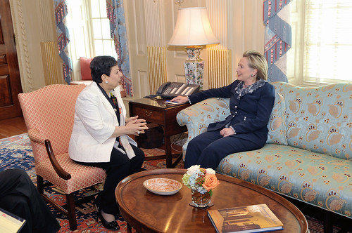 Secretary Clinton Holds a Meeting With PLO Executive Committee Member Hanan Ashrawi