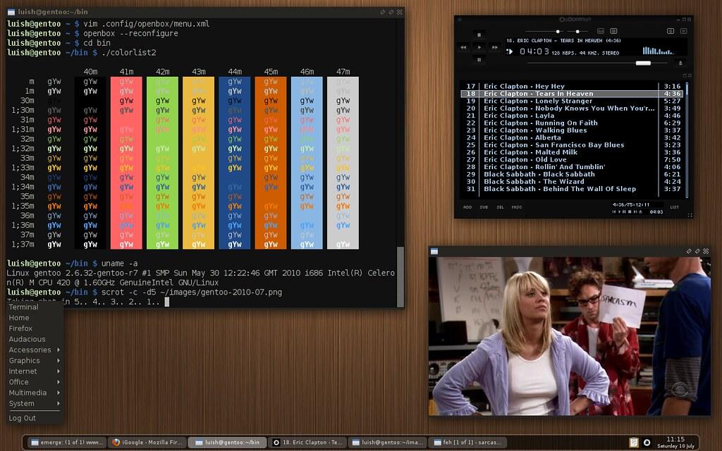 gentoo + openbox | Gentoo Linux Openbox: Laza theme Xterm (w