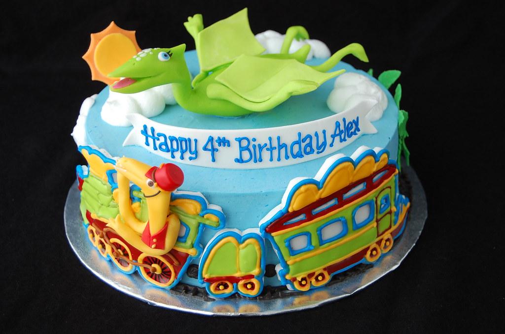 Sensational Dinosaur Train Birthday Cake Front Inspired By The Pbs K Flickr Personalised Birthday Cards Veneteletsinfo