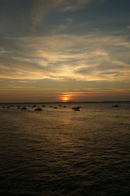 coucher de soleil depuis la plage d'Arcachon
