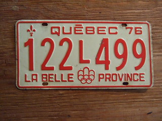 QUEBEC 1976 ---PASSENGER PLATE, 76 SUMMER OLYMPICS 122L499 | by woody1778a
