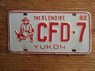 YUKON 1982 ---PASSENGER PLATE CFD7