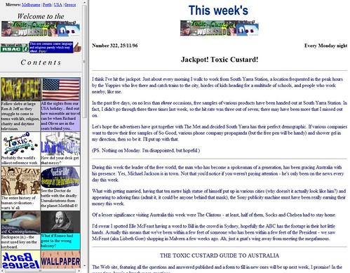 Toxic Custard web site, November 1996