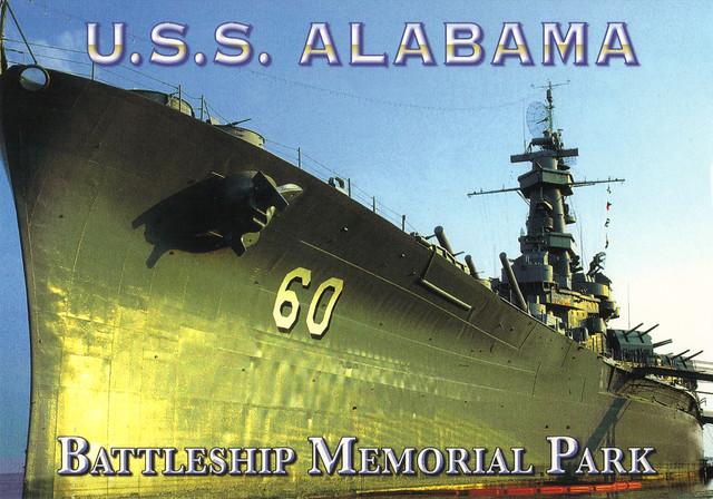 USS Alabama Submarine Postcard