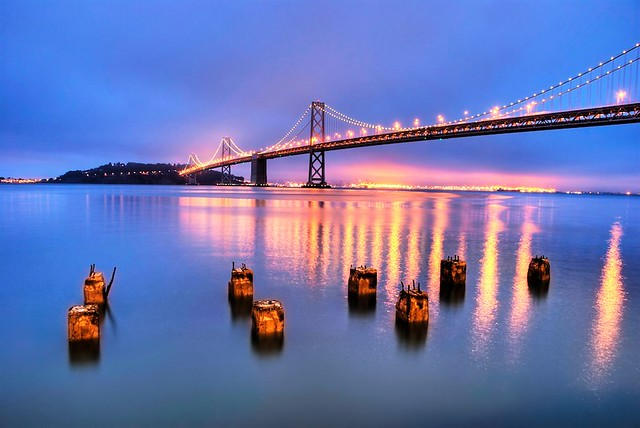A foggy blue hour at the Bay Bridge