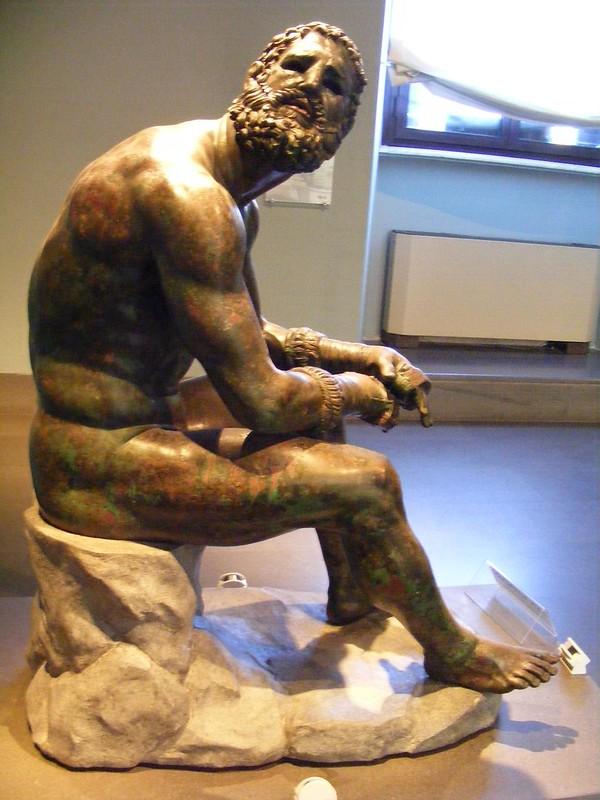 Atleta en reposo, pugil, siglo I a.C. bronce original-6