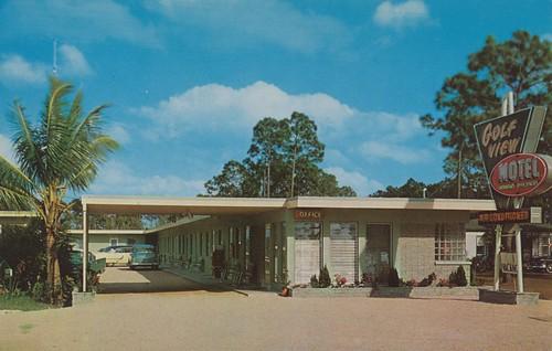 vintage florida postcard motel fortmyers golfview