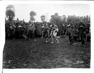 A race in progress at the New Zealand Division sports day in France, during World War I, 8 Jul 1917