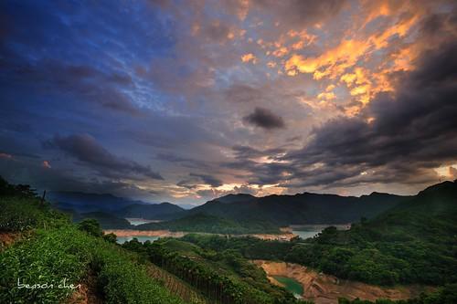 blue sunset sky cloud nature water nikon tea taiwan blackcard taipeicounty 翡翠水庫 潭腰 d700 石碇鄉 xindiancity