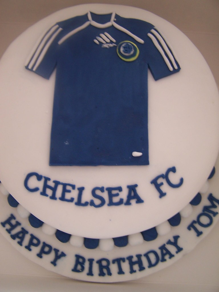 Outstanding Chelsea Birthday Cake Cake With Chelsea Football Shirt Flickr Personalised Birthday Cards Veneteletsinfo
