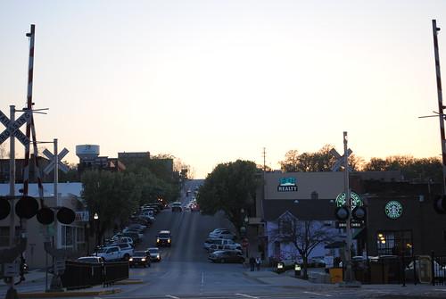 railroad sunset evening nikon downtown mo missouri april branson railroadcrossing 2010 bransonlanding laketaneycomo taneycounty d3000 april2010 nikond3000