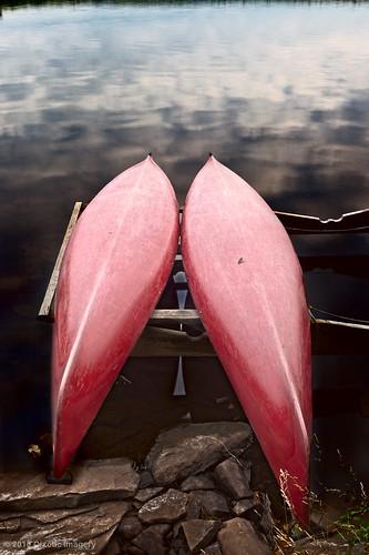 lake sunrise reflections canoe twinlakes