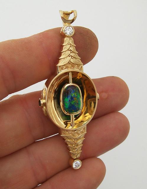 18K Black Opal Pendant / 2