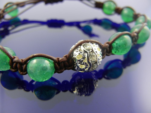 Leather and Jade Bracelet | by IrenkaJewelry