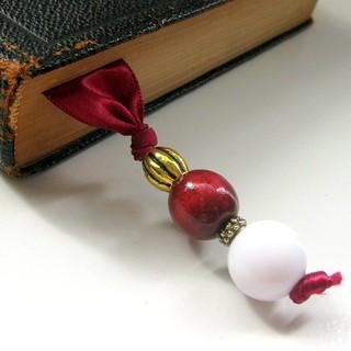 Burgundy Satin Beaded Bookmark