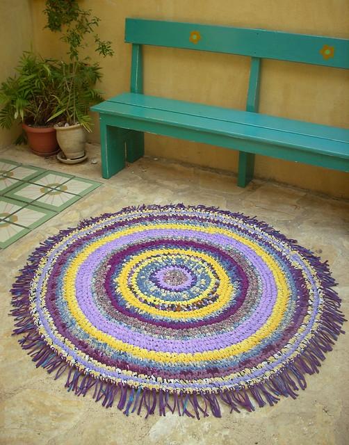 Purple and yellow - hand crocheted rag rug