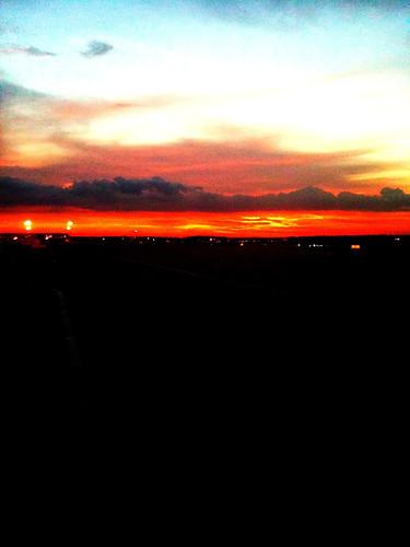 sky sun evening iah