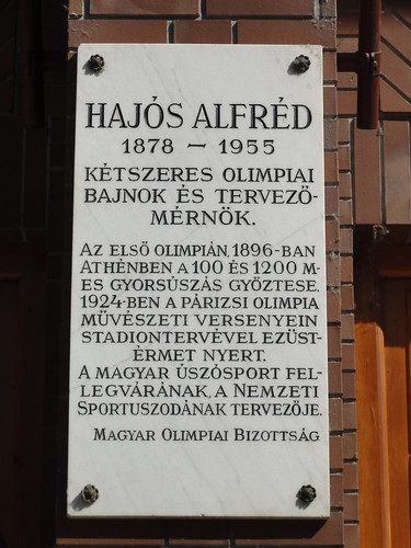 Hajós Alfréd plaque at the National Swimming Pool in Budapest | by morshus