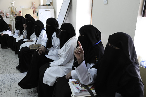 Women attend a class in midwifery at the Health Service Institute | by World Bank Photo Collection
