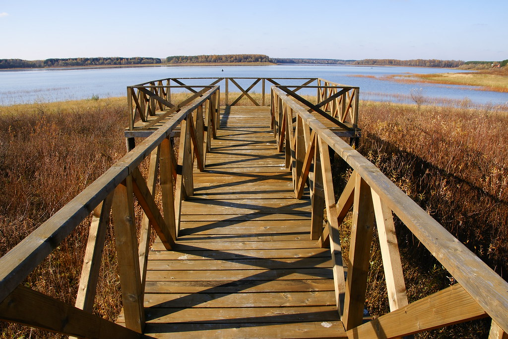 Wooden deck with a lakeview, Mozhaysk Reservoir, Russia