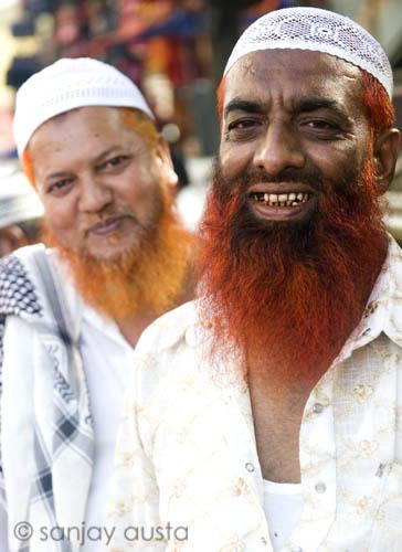 Henna dyed bearded men at Charminar, Hyderabad, India | Flickr