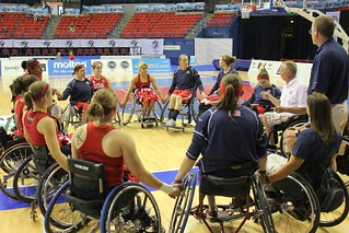 Picture: The USA huddle after their game with Brazil | by 2010 World Wheelchair Basketball Championships