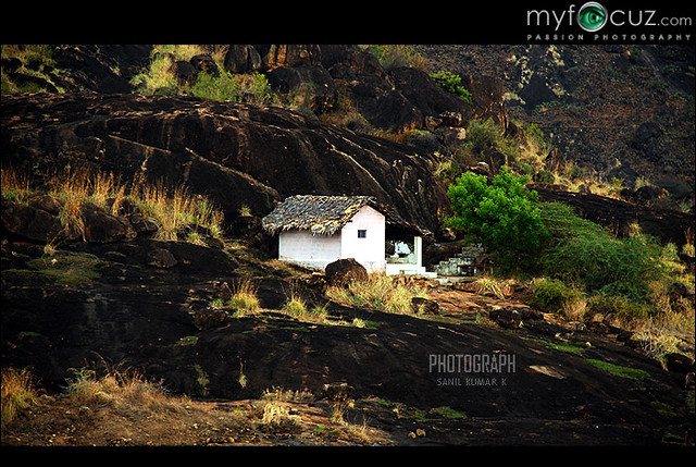 Cottage alone in a mountain