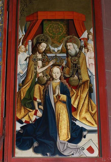 Kiedrich, Kirche St. Valentinus, Flügel des Johannesaltars mit der Marienkrönung (St. Valentine's Church, wing of St. John's altar, Mary's Coronation)