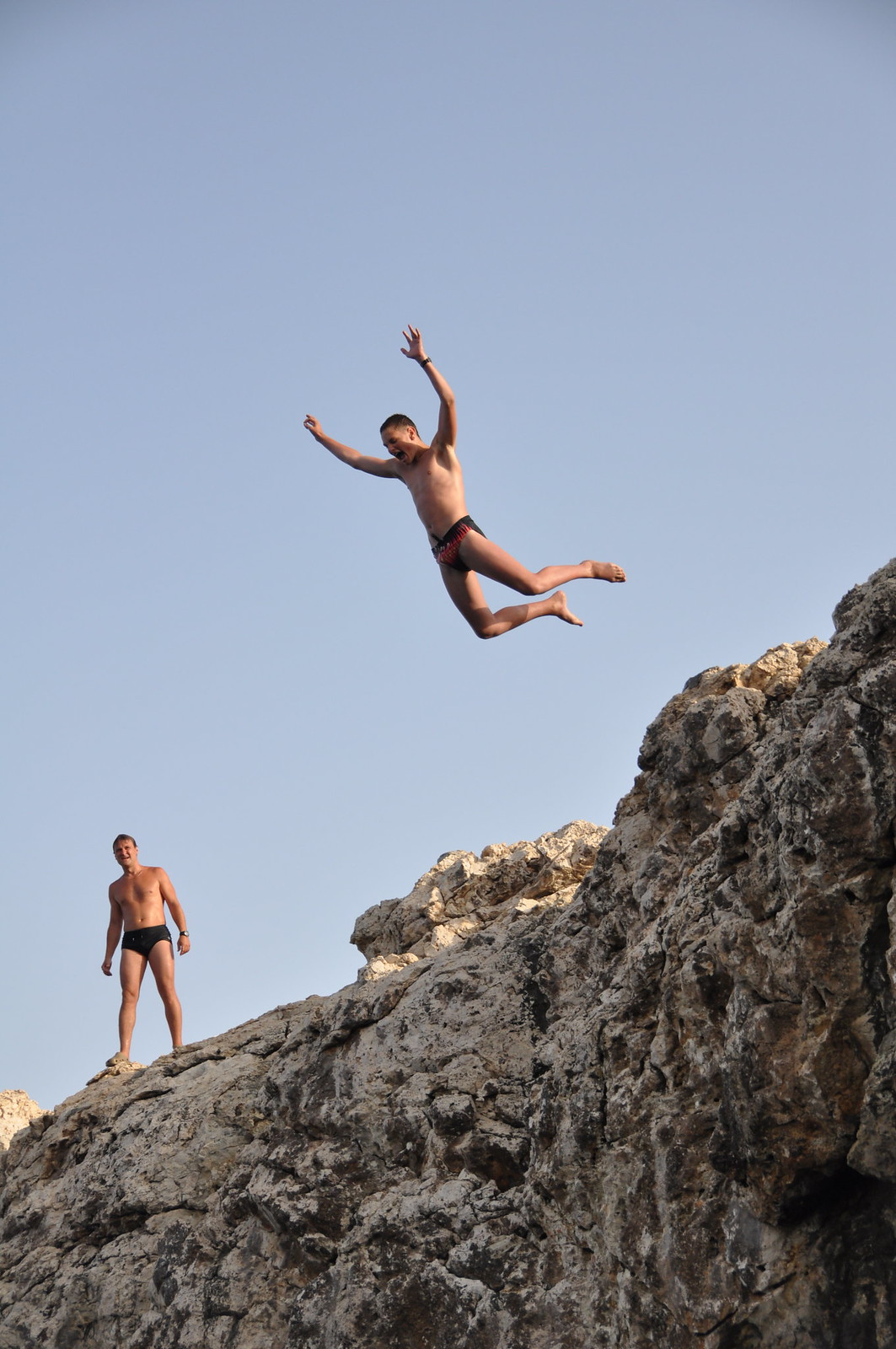 Jumping off the cliff at Cape Greco