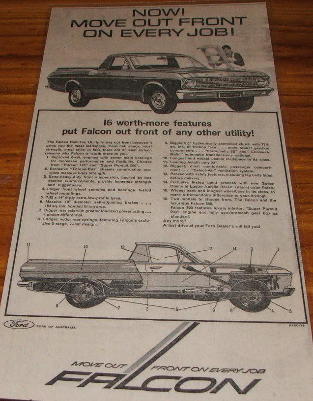 1967 Ford Falcon Ute Ad | The New Ford XR Falcon was alot bi