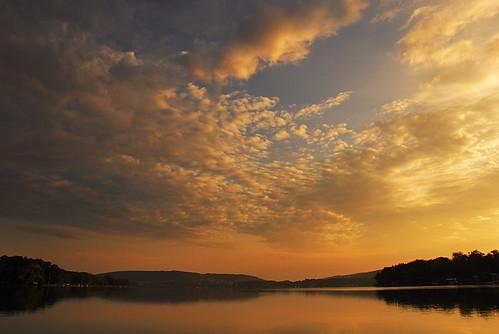 new york usa lake ny nature water clouds sunrise landscape us glow bradford unitedstates central lakes calm lamoka finker