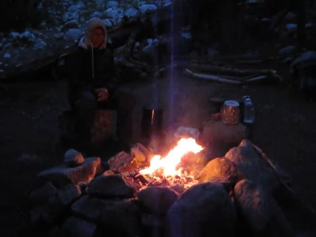 2455 Video of Sitting by the fire in our Lyell Canyon campsite