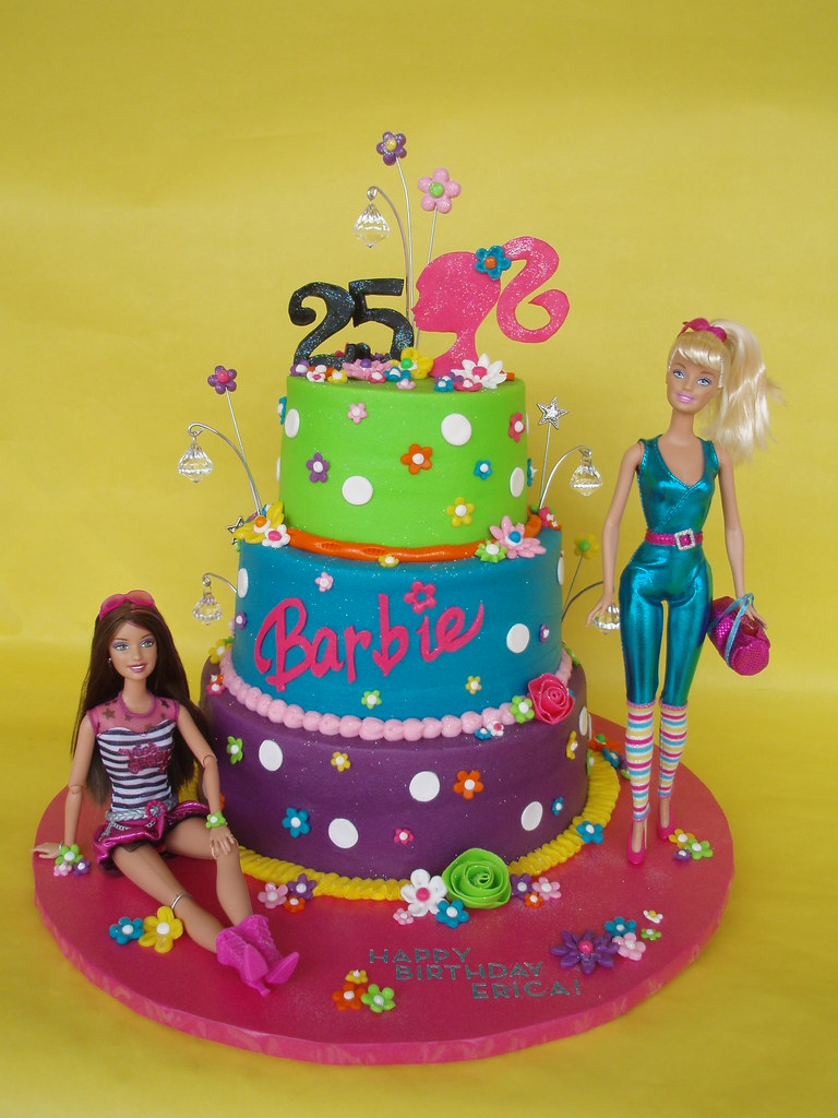 Excellent Barbie Themed 25Th Birthday Cake Erica Celebrated Her 25Th Flickr Funny Birthday Cards Online Barepcheapnameinfo