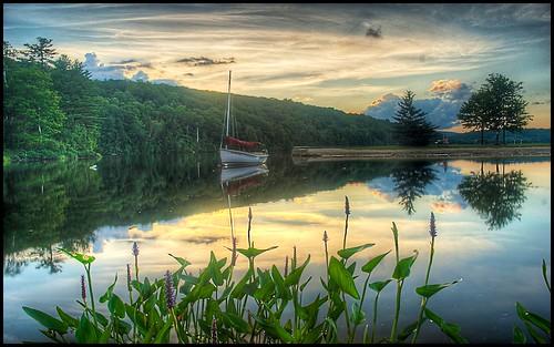 sunset lake reflection water outdoors boat aperture nikon newhampshire nh eastman hdr grantham photomatix nikond80 borderfx