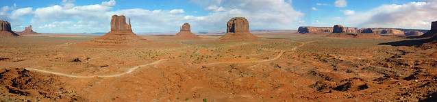 Stitched view of Monument Valley