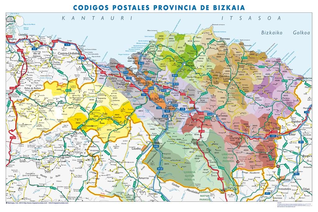 Vizcaya Codigos Postales Mapa De Pared Tamano Mural De Vi Flickr