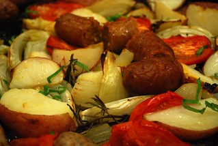 Baked Sausage, Fennel, Tomato and Potato - close-up | by avlxyz