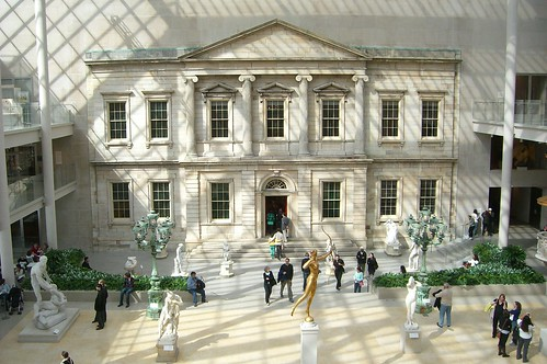 Martin E. Thompson. Branch Bank of the United States (facade). 1824; Grosvenor Atterbury. American Wing of the Metropolitan Museum of Art. 1924; Kevin Roche. The Charles Engelhard Court. 1980. Metropolitan Museum of Art. New York City.