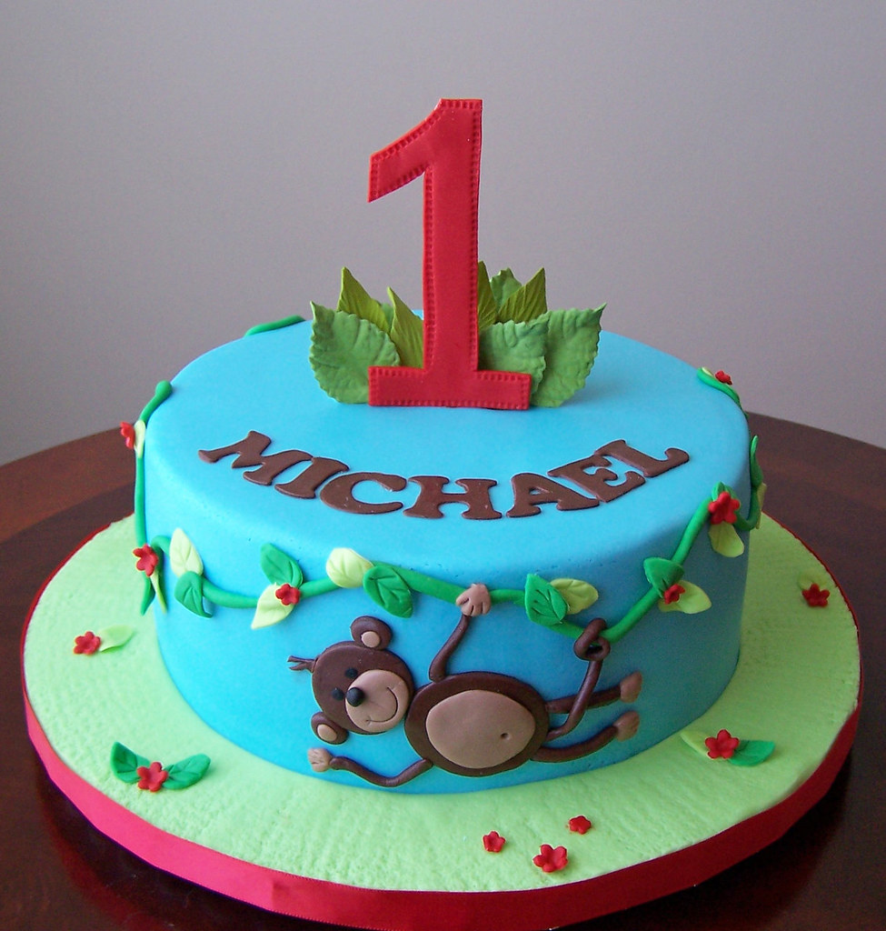 Pleasant Monkey Theme First Birthday Cake This Was A Very Last Minu Flickr Personalised Birthday Cards Veneteletsinfo