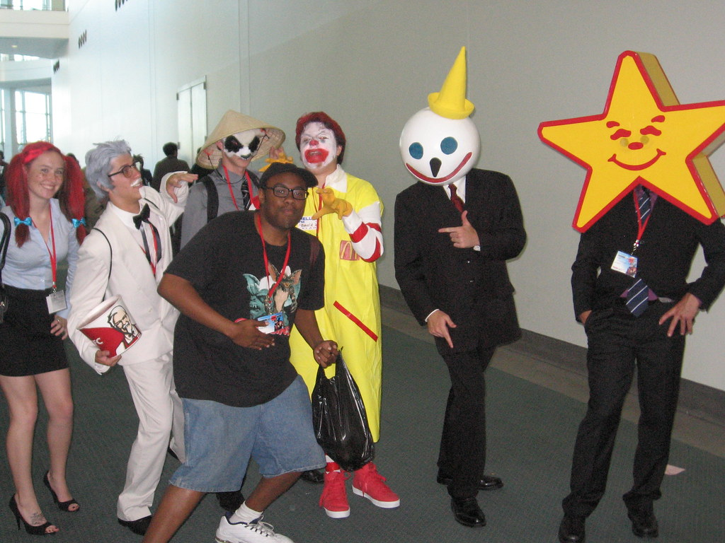 Black Nerd & Gang of Fast Food Mascots | Anime Expo & Ninten… | Flickr