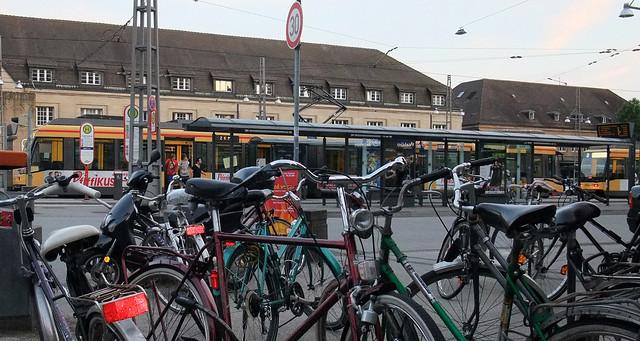 Karlsruhe bikes trams bahnhof