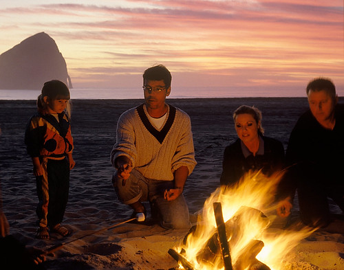 Family on Beach making S'mores | by OCVA