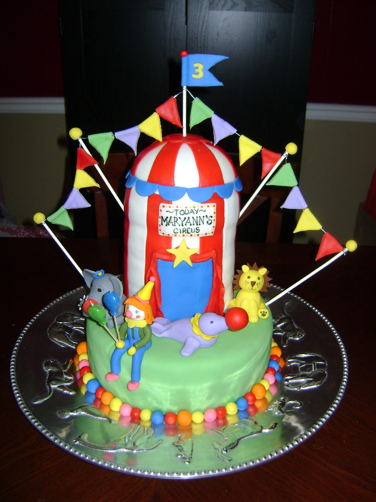 Miraculous Circus Birthday Cake Handmade Fondant Clown And Circus Ani Flickr Personalised Birthday Cards Veneteletsinfo