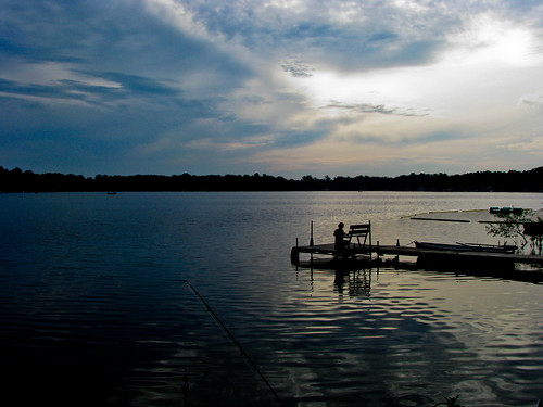 blue sunset shadow lake nature water clouds dark evening pier fishing dock community key low commons scene serene communitycommons
